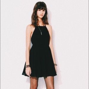 UO silence + noise chiffon high neck apron dress